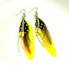 "vogue charm elegant dangle ""Handmade"" Yellow  Feather earrings FREE shipping M6"