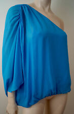 ALICE & OLIVIA Royal Blue 100% Silk One Shoulder Batwing Pleated Blouse Top Sz:M