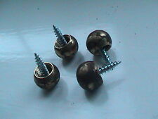 SET OF 4 BRASS BALL FEET FOR ANTIQUE TEA CADDIES