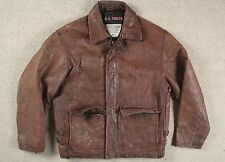 VTG 80s US FORCE BROWN LEATHER FLIGHT BOMBER JACKET MOTORCYCLE SHORT 40/42