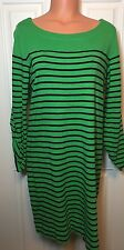 Jones New York Sport Women's Green Navy Blue Striped Dress Sz L Large