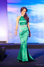 Ashley Lauren emerald mermaid embellished size 0 pageant gown prom green pearls