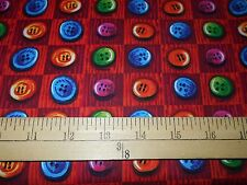 """1 yard Springs """"Happy Buttons"""" Christmas Fabric"""