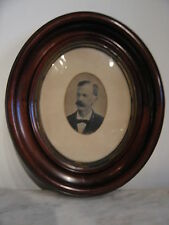 Antique Victorian Era Oval Walnut Frame w/ Old Photograph of Man