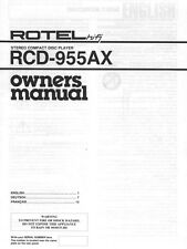 Rotel RCD-955AX CD Player Owners Manual