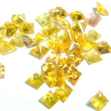 NATURAL AAA GRADE GOLDEN YELLOW SAPPHIRE GEMSTONE (3 pieces) SQUARE PRINCESS-CUT