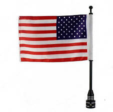 Rear Side Vertical Mount Flag Pole With USA Flag Black For All Harley Davidson