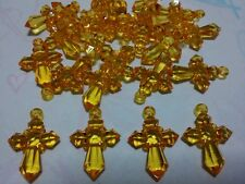 25 Pieces Orange Colour Acrylic Faceted Cross Pendants / Charms
