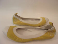 authentic chanel yellow suede /white cc stretch ballerina flats 40 9