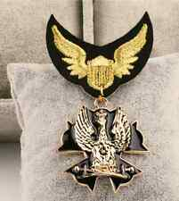 Fashionable Golden Eagle Vintage Sterling Pin Brooch Medal Patches