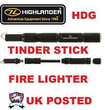 HIGHLANDER TINDER STICK FIRE LIGHTER FLINT STEEL PARAFFIN INFUSED SURVIVAL TOOL