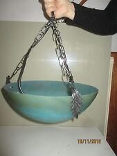 ancienne et superbe suspension lustre pâte de verre bleu vert signé VIANNE