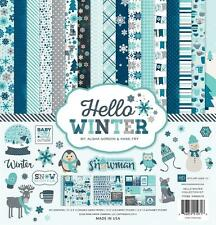 HELLO WINTER 12x12 Collection Kit Snow Scrapbook Pocket Page ECHO PARK Paper NEW