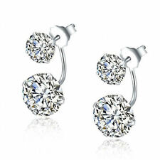 925 Sterling Silver Double Swarovski Crystal Bridal Earrings