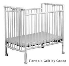 WHITE PORTABLE CRIB BY COSCO, WITH MATTRESS - PRICE DROP!