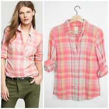 J.Crew Perfect Shirt Coral Peach Pink Plaid Fitted Button Down 4