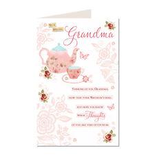 Pour un spécial grand-mère Joyeux Anniversaire belle théière rose vif moderne conception carte