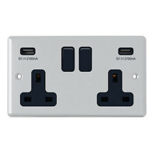 Polished Chrome Classical 2 Gang Socket w/ USB Charging Ports Outlets Points