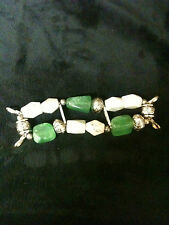 "Multi Colored Jade Stone with Silver Claw Claps 5""  Watch Bracelet"