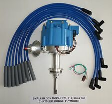 SMALL BLOCK MOPAR 1964-89 273-318-340-360 HEI DISTRIBUTOR+BLUE Spark Plug Wires