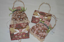 Victorian Christmas Ornaments Pink Shabby Chic Purses Handbags Lace Pearls LOT