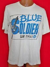 Vintage UNITED NATIONS BLUE SOLDIER 1993 50/50 T-SHIRT L UN Vtg Soft RARE