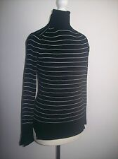 Zara POLO HIGH  NECK BLACK WITH WHITE STRIPES SWEATER Pullover Jumper Size S