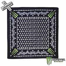 MONSTER ENERGY BANDANA NECK HEAD SCARF WEAR PAISLEY BLACK WITH GREEN CLAW LOGO