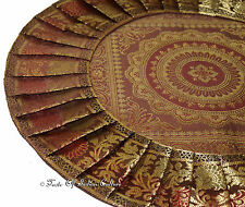 "Brown 16"" Round Cushion Pillow Cover Mandala Silk Brocade Ethnic Indian Throw"