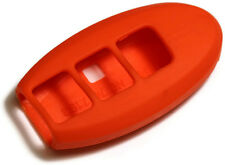 Orange 3 button Key Fob Cover Jacket Silicon Pouch Bag Fits Nissan