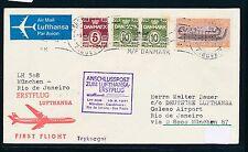95725) LH FF München - Rio Brasilien 13.5.71, Brief ab Dänemark Schiffspost