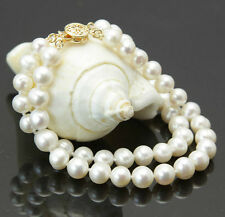 2rows 7-8mm natural white akoya cultured pearl 14K GP clasp bracelet 7.5""