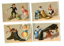 Victorian Trade Card set of 4 couples/kids with GIANT SHOES  all different