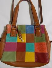Fossil Patchwork Leather Purse Multi Color Squares Hobo Bag 3 Pockets