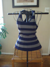 SEAMLESS GREY/NAVY RUGBY STRiPED RIBBED RACERBACK YOGA ZUMBA  SPORT TANK TOP