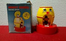 VINTAGE MONKEY IN BARREL WIND UP PLASTIC COIN BANK HONG KONG+BOX+paper works