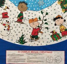 Charlie Brown Christmas Tree Skirt Fabric Panels Peanuts Snoopy Tablecloth 2 New