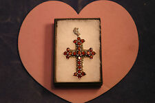 Superb 925 Silver Cross With Marcasite And Garnet  Gems 16.4 Gr. 6.5 x 4 Cm. W.