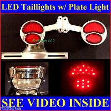 Red LED Custom Taillights w/ Plate Bracket Pickup Truck Hot Rod Chevy GMC