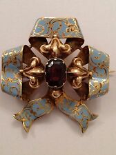 Superb Victorian 15ct Gold Blue Enamel Decorated Tied Ribbon Brooch - Circa 1875