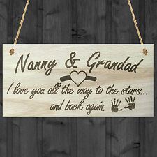 Nanny & Grandad Love To The Stars & Back Wooden Plaque Grandparents Gift Sign
