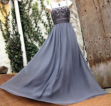 £225 Opulent&Sparkly MONSOON *Merena*grey embellished SILK maxi dress XMAS 14/16