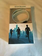 Smart Bracelet Bluetooth Heart Rate Monitor Fitness Wristband White Gray- HRM