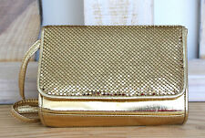 VTG WHITING AND DAVIS SPARKLING GOLD METAL MESH SHOULDER BAG BOXY CLUTCH HANDBAG