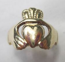 Vintage 9ct 375 Solid Gold Mens Celtic Claddagh Irish Ring Size Q Hallmarked