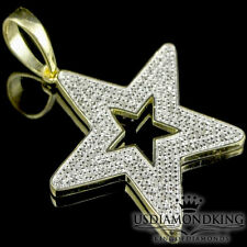 10K Yellow Gold Over Sterling Silver .35ctw Genuine Diamond Star Pendant Charm