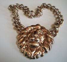Gold finish  Hip Hop Style Ice Out LION pendant with attached  Chain