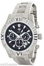 Aqua Master Men's W#333 Silver tone Stainless Steel Black Chrono Dial Watch