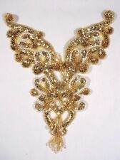 "0035 GOLD PEARL YOKE BEADED SEQUIN APPLIQUE BODICE 8.5"" SEWING CRAFTS MOTIF  :)"