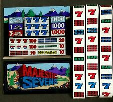 """IGT S+ Plus or S2000 Slot Machine MAJESTIC SEVENS 16"""" Top & Belly Glass & Strips"""
